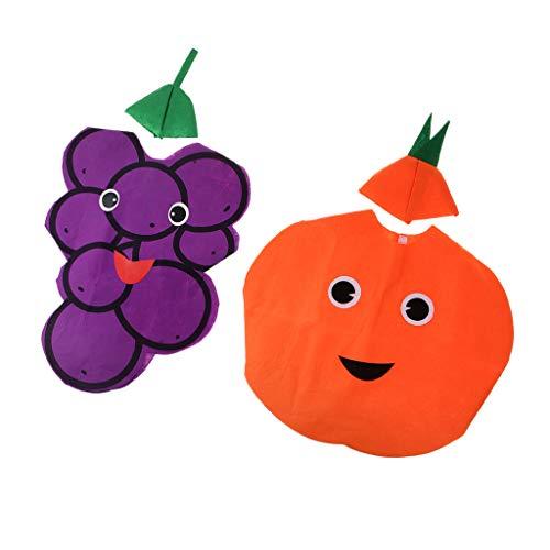 Hellery 2 Sätze Jungen Mädchen Vliesstoffe Obst Traube Orange Kostüm Schule Party Dress Up Bühne Leistung Kleidung