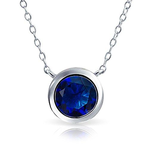 Bling Jewelry 2CT Semplice Blu Royal AAA CZ Solitario Collana Pendente per Donne Zaffiro Simulato Cubic Zirconia Argento 925
