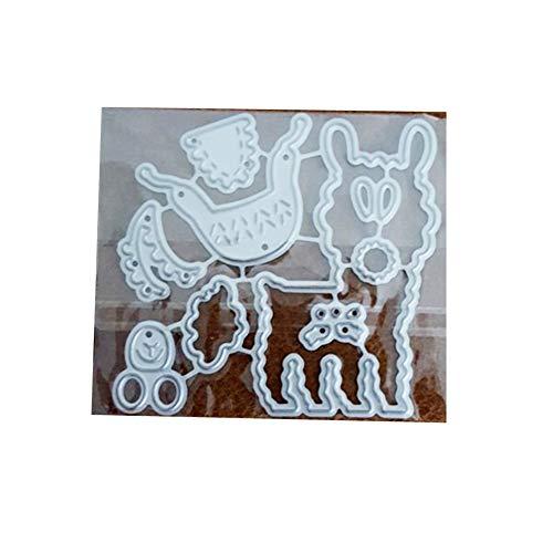 RIsxffp niedliche Alpaka-Schablonen zum Basteln, Scrapbooking, Papierkarten, Dekoration, Schablone silberfarben