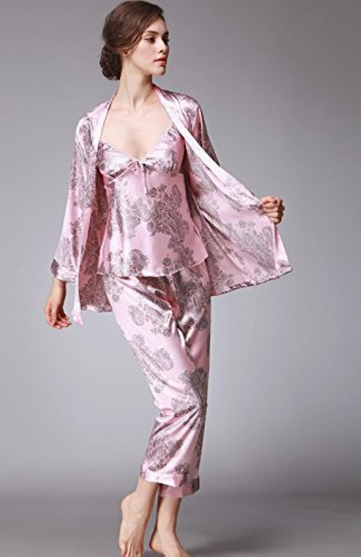 NWEC Ladies' silk pajamas, soft silk pajamas, three pieces of suit dress,XXL,Pink