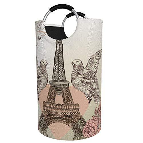 N\A Cesta de lavandería Grande de 82 l, Doble águila, corazón Rojo, Torre Eiffel, cesto de lavandería de Tela Plegable, Bolsa de Ropa Plegable, Cesta de Almacenamiento Plegable
