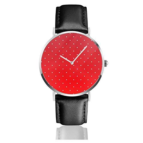 Reloj de cuero rojo y pequeño blanco lunares unisex clásico casual moda reloj de cuarzo reloj de acero inoxidable con correa de cuero