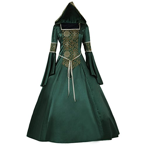 CosplayDiy Women's Medieval Hooded Fancy Dress Victorian Costume G M Green
