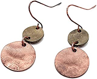 SODIAL Frauen Europa Zink-Legierung Ohrringe Vintage Antik Silber Kupfer Doppel Runde Anhaenger baumeln Ohrringe Schmuck fuer Party (Kupfer Farbe)