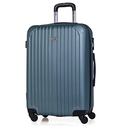 ITACA - Trolley Suitcase, 60 cm, Medium Size, ABS. Rigid, Resistant, Robust and Light. Telescopic Handle, 2 Retractable Handles, 4 Wheels T71560, Color Acquamarine