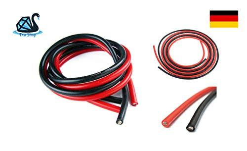 Preisvergleich Produktbild Eva Shop® Premium Silikonkabel Silikonlitze Kupfer rot und schwarz KFZ Silikon Kabel Litze 12AWG 14AWG 16AWG 18AWG 20AWG hochstromfest und hitzebeständig für Modellbau UVM. (14 AWG 1m Schwarz)