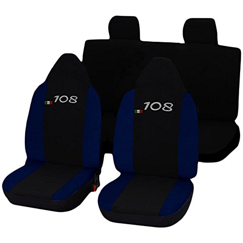 Lupex Shop N.BS stoelhoezen voor Peugeot 108 tweekleurig zwart donkerblauw