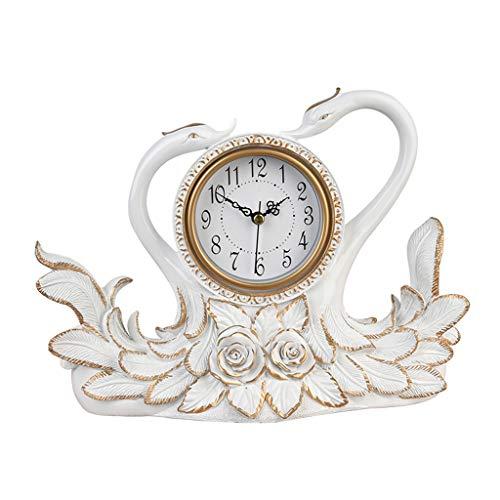 JCOCO Européenne créative Table Horloge Cygne Ornements Bureau décoration muet personnalité silencieuse Table Horloge pour Salon TV Armoire à vin Affichage décoration Cadeau (Couleur : Blanc)