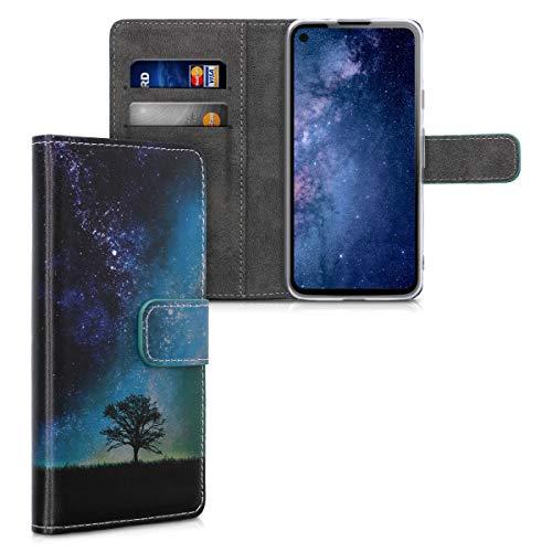 kwmobile Wallet Hülle kompatibel mit Google Pixel 4a - Hülle Kunstleder mit Kartenfächern Stand Galaxie Baum Wiese Blau Grau Schwarz