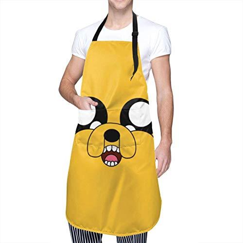 XCNGG Delantal de Cocina Funny Cartoons Adventure Time Aprons Waterproof with Pockets Men Women Cute Dishwashing Apron Adjustable Tie Cooking Kitchen Housework