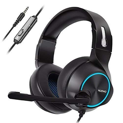 NUBWO - Cuffie Stereo per PS4, Xbox One, con Cavo e Microfono con riduzione del Rumore, con Controllo Volume e Muto, per Mac/Playstation 4/Xbox 1, Colore: Blu