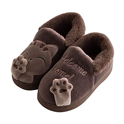 Hausschuhe Kinder Junge Pantoffeln Mädchen Hüttenschuhe Plüsch Slippers Winter Warme Gefüttert Hausschuh Geschlossen Plüschhausschuhe Katze drinnen und draußen Kinderschuhe