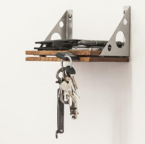 Tuneon Vintage Industriedesign EDC innovatives Schlüsselregal Ablage Regal Schlüsselbrett Holz: Kirschbaum