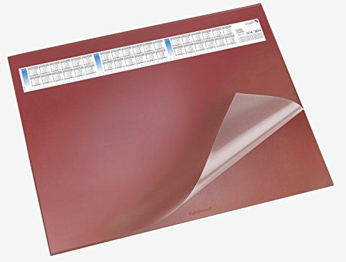 Läufer 44534 Durella DS Schreibtischunterlage mit transparenter Auflage und Kalender, 40 x 53 cm, rutschfest, rot