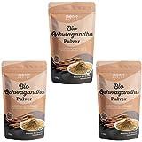 Polvo orgánico de Ashwagandha de Monte Nativo - 3x700g - Polvo de Raíz Molida - Ginseng Indio - Cereza de Invierno - Withania Somnífera - Certificado Orgánico - Probado en Laboratorio