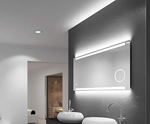 LED badkamerspiegel Talos King, 120 x 60 cm, lichtkleur 4200K, verlichte make-upspiegel, digitale klok