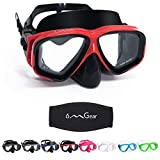 OMGear Children Dive Mask Two-Lens Swim Goggles with Nose UV Protection Recreation Tempered Glass Free Diving Goggles Snorkeling Mask (Red008)