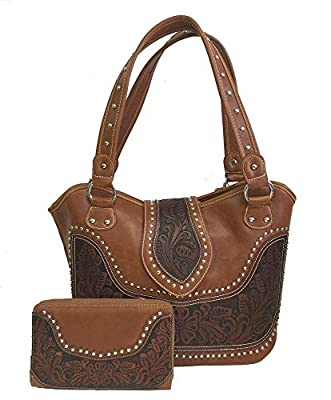 Concealed Carry Tooled Leather Shoulder Purse - Concealed Weapon Gun Bag w/ Matching Wallet By Montana West (Brown)