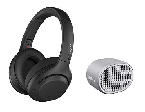 Sony WH-XB900N Bluetooth Noise Cancelling Kopfhörer, schwarz + SRS-XB01 tragbarer Bluetooth Lautsprecher (Extra Bass, 6h Akku, Spritzwassergeschützt) weiß