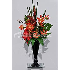 Silk Blooms Ltd Artificial Red Amaryllis and Orange Gloriosa Vase Display w/Heliconia and Contorted Willow