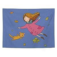 YuanSu 漫画の女の子動物タペストリーの壁掛けかわいい子供タペストリーカラフルなタペストリードームホテルの壁37.4 * 28.7インチ 壁のタペストリー (Color : 3)