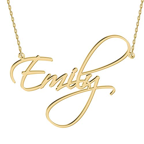 Joelle Jewelry Design Sterling Silver Name Necklace Personalized, 15 Fonts Style to Choose, Custom Made Women's Name Script Plate Pendant for Her