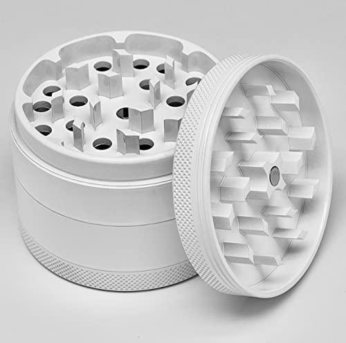 Elmeto Keramik Grinder Crusher Haftfrei ø 63mm (Weiß) Premium   4-teilig   Nano Keramik beschichtete Kräutermühle   inkl. Tragetasche mit Logo, Pollenschaber, Pinsel und Glasfilter
