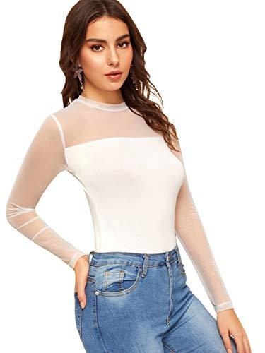 SweatyRocks Women's Elegant Long Sleeve Contrast Sheer Mesh Slim Fit T Shirt Tops White M