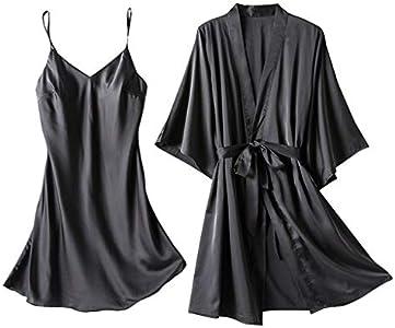 Amaeen Pijamas Mujer Sexy Conjuntos Baratos Nueva de Seda Satinada Camisón de Damas Lencería Batas Ropa Interior Ropa de Dormir de Satén Seductora