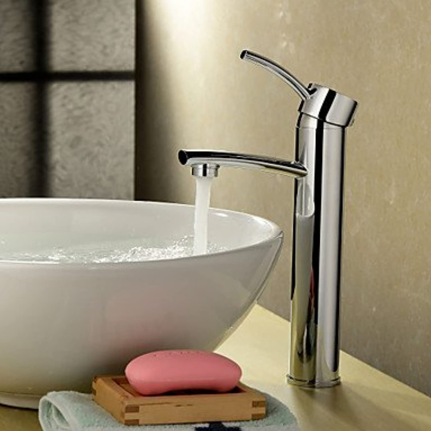 HFaucet? Chrome Finish Solid Brass Bathroom Sink tap (Tall)