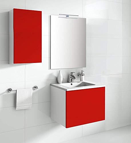 Aleghe Eris Mueble de baño, Madera, Rojo Brillo, 80.00x45.00x45.00 cm
