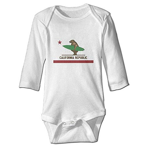 WBinHua T-Shirts für Baby-Jungen,Bertha California Surfing Bear Longboard Baby Boys Girls Long Sleeve Onesies Bodysuits