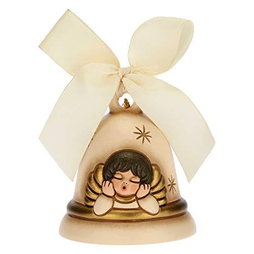 THUN - Addobbo per Albero di Natale Campanella con Angelo Limited Edition 2020 - Decorazioni Natale Casa - Versione Rossa - Ceramica - 7 x 7 x 8 h cm