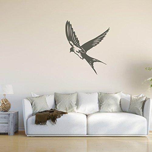 malango® Wandtattoo - Schwalbe Wand Tattoo Vogel Singvogel Wandaufkleber Tier Tierwelt Aufkleber Sticker ca. 90 x 110 cm schwarz