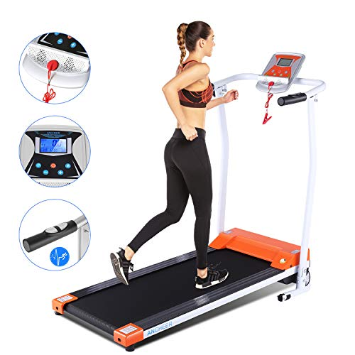 ANCHEER Treadmill, Treadmills for Home with LCD and Pulse Rate Grips Motorized Running Walking Jogging Exercise Fitness Machine Trainer Equipment for Home Gym Office (Black)