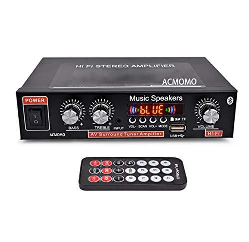 600W Mini amplificatore di potenza Bluetooth, Amplificatore digitale stereo Hi-Fi 2.0 con ingresso AUX USB Bluetooth, Ricevitore wireless Home Car audio, Regolazione bassi acuti