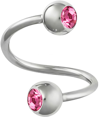 Forbidden Body Jewelry 16g Spiral Twist Surgical Steel Lip Ring with Press Fit Pink Gems & 4 mm Balls
