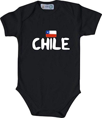 Unbekannt Cooler WM Länder Baby Body mit Flagge/Chile/Farbe: Schwarz/Größe: 74-80 (9-12 Monate)