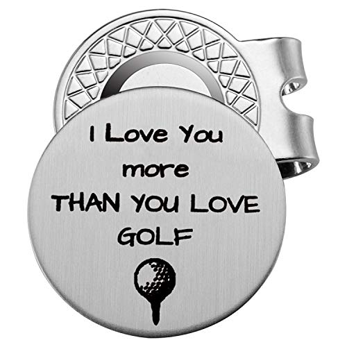 Memories Coding Stainless Steel Golf Ball Marker with Magnetic Hat Clip - Engraved Message 'I Love You More Than You Love Golf' - Golf Accessories for Men - A Perfect Mens Gift for Golf Lovers