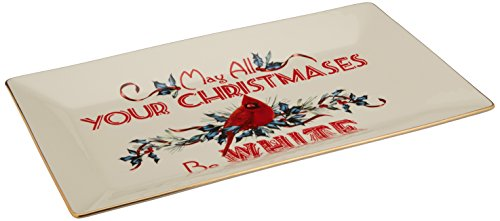 Lenox Winter Greetings Home for The Holidays Sentiment Platter, Ivory