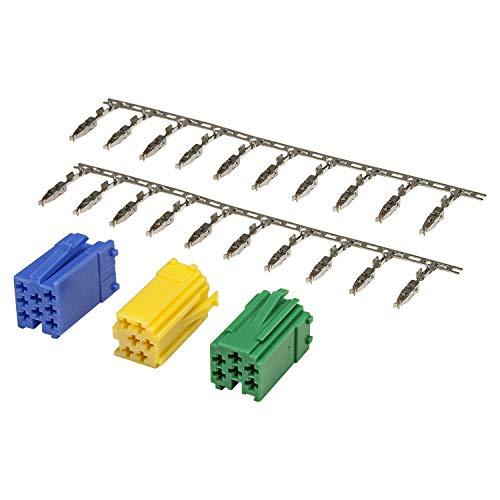tomzz Audio 5800-090 Mini ISO Stecker Set, grün gelb blau Gehäuse + 20 Kontakte