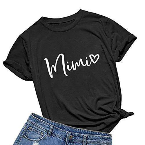 BABEGO Womens Mimi Heart T Shirt Cute Letter Print Short Sleeve Graphic Tees Black XX-Large
