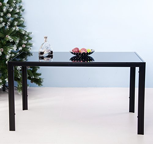 Merax 47 Inch Contemporary Black Rectangle Dining Table with Tempered Glass Top Metal Legs (Black)