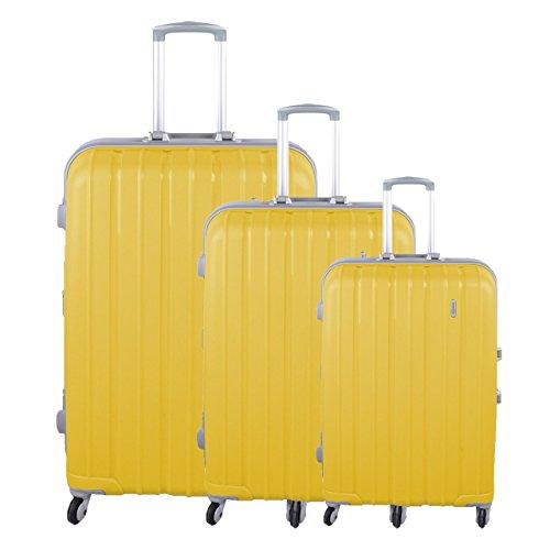 PP Trolley Reise Kofferset 3tlg Trolleyset Aluminium-Rahmen-Stil Zahlenschloss, Farben Koffer:gelb
