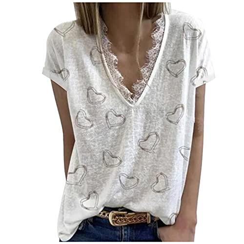 Camiseta de verano para mujer, camiseta con forma de corazn, elegante, manga corta, cuello en V, suelta, camiseta de verano, Blanco, XL