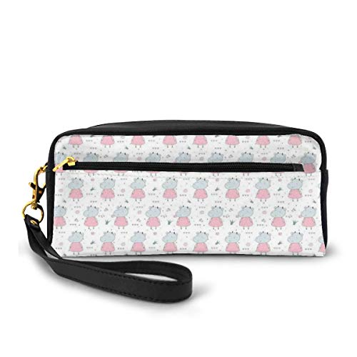 Pencil Case Pen Bag Pouch Stationary,Adorable Cows in Dresses with Scribbled Heart and Flowers,Small Makeup Bag Coin Purse