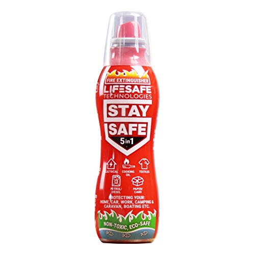 StaySafe 5-in-1 Fire Extinguisher, Best Extinguisher for Home, Car, Work, Camping, Caravan, Boat - extinguishes 5 types of fires in seconds