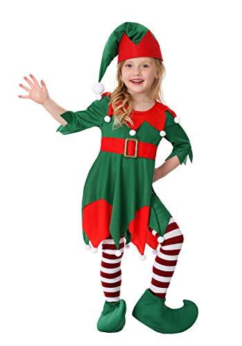 Toddler Girl's Santa's Helper Costume 4T Kelly Green,red