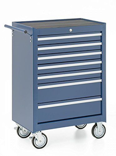 Werkplaatswagen, 7 laden, blauw