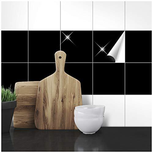 Wandkings Fliesenaufkleber - Wähle eine Farbe & Größe - Schwarz Glänzend - 14,5 x 14,5 cm - 50 Stück für Fliesen in Küche, Bad & mehr